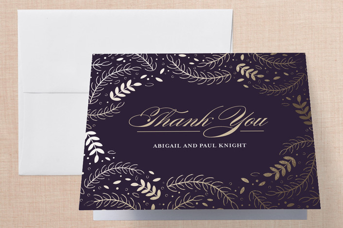 """""""Wedding Waltz"""" - Foil-pressed Thank You Cards in Plum by lena barakat."""