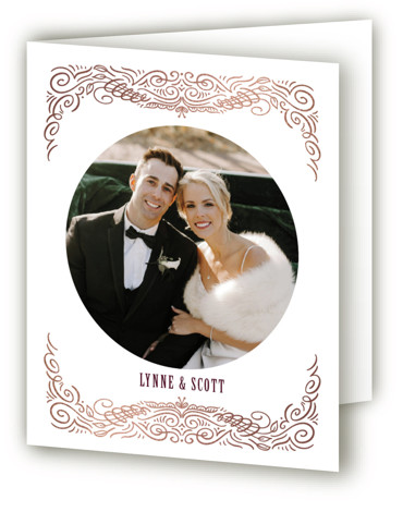 This is a red Wedding Thank You Cards by Laura Bolter Design called Opulence with Foil Pressed printing on Standard Cover in minibook fold over (blank inside) format. Elegant, opulence frame of hand flourished details