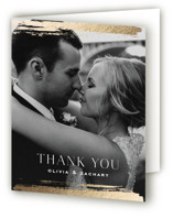 This is a grey wedding thank you card by Carolyn Nicks called True Love with foil-pressed printing on strathmore in standard.