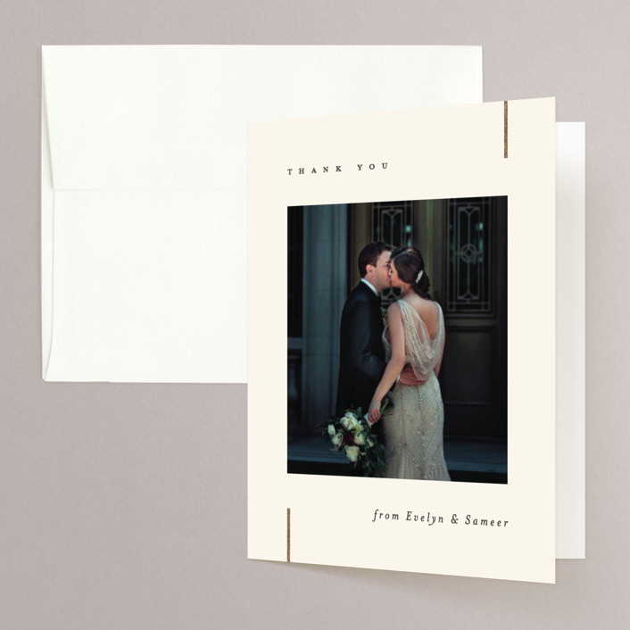 """""""Your Love"""" - Foil-pressed Folded Thank You Card in Cream by Carolyn MacLaren."""