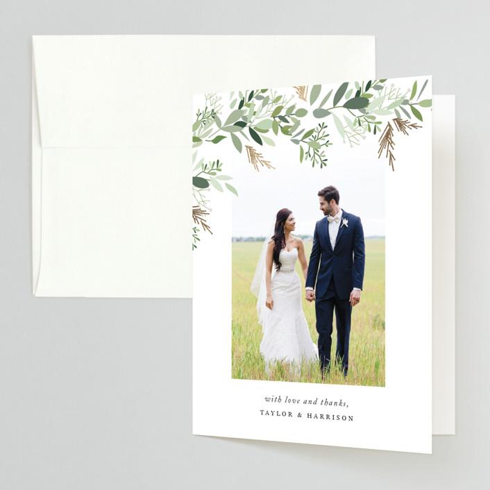 """Trailing Vine"" - Foil-pressed Folded Thank You Card in Greenery by Jennifer Postorino."