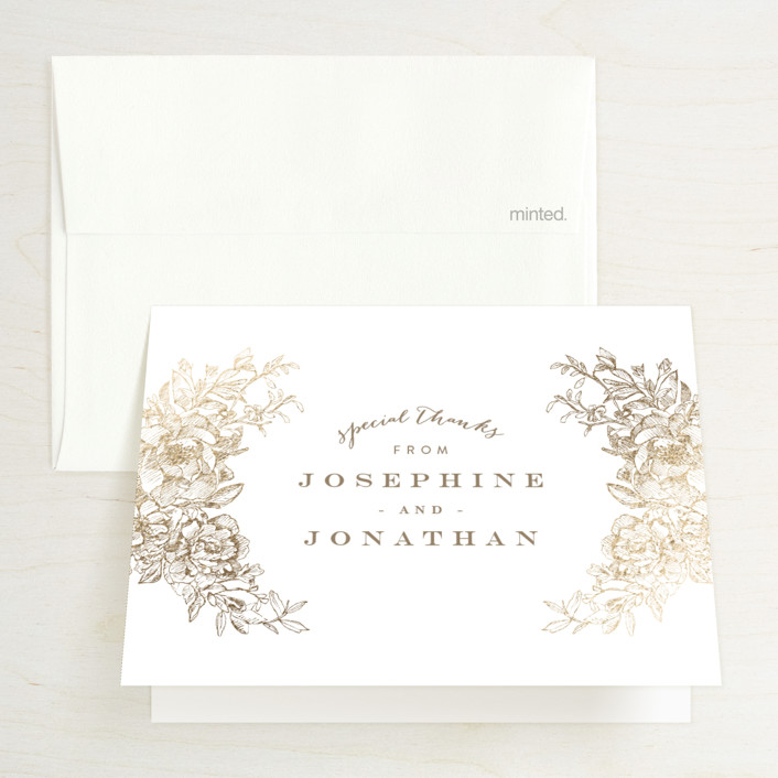 """""""Engraved Flowers"""" - Foil-pressed Thank You Cards in Gold by Phrosne Ras."""