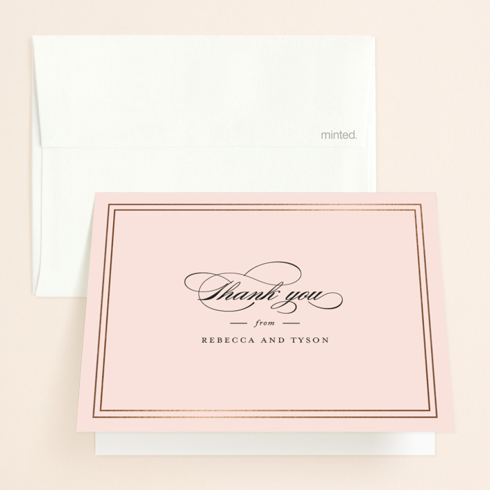 """""""Eloquence"""" - Foil-pressed Folded Thank You Card in Gold by Kimberly FitzSimons."""