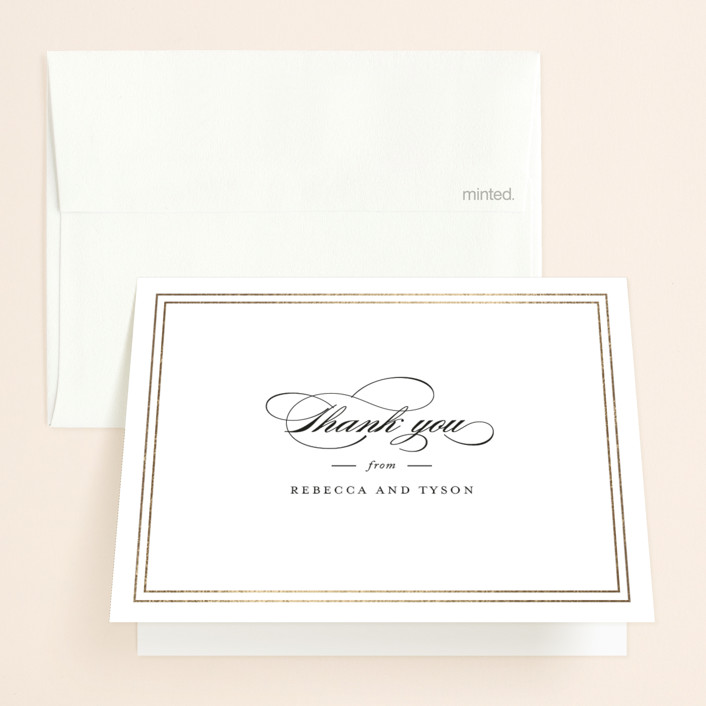 """""""Eloquence"""" - Foil-pressed Folded Thank You Card in Snow by Kimberly FitzSimons."""