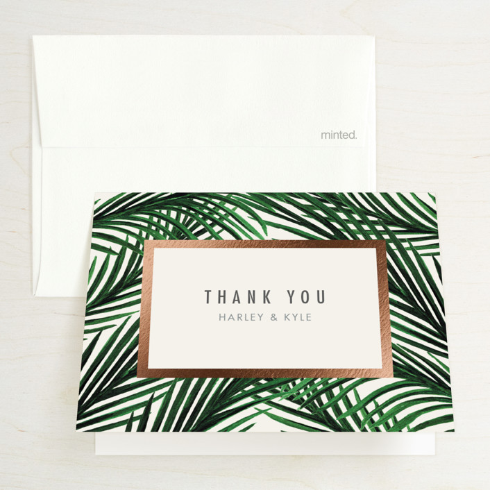 """Tropical Love"" - Foil-pressed Folded Thank You Card in Ivory by Elly."