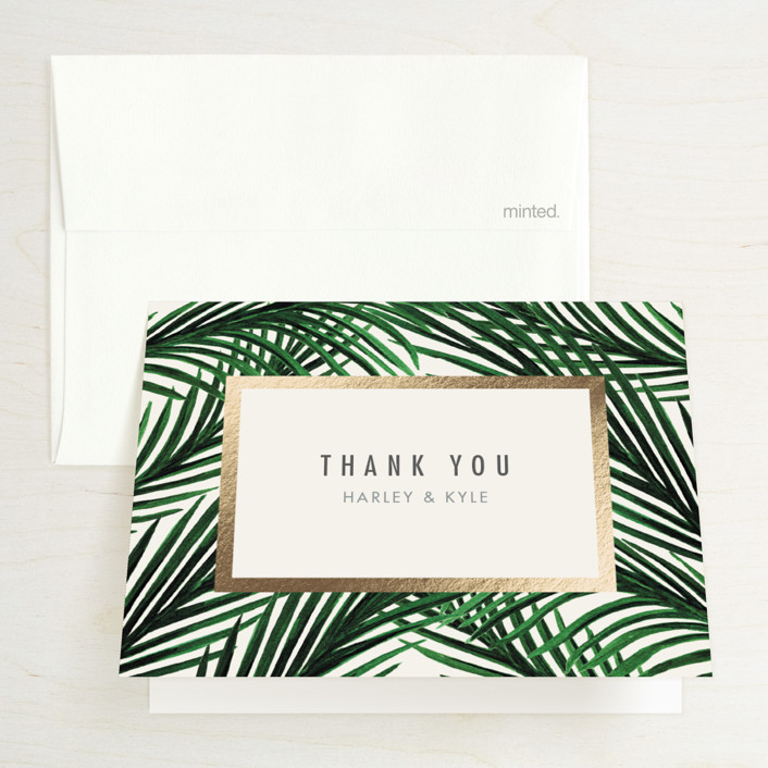 """""""Tropical Love"""" - Foil-pressed Folded Thank You Card in Ivory by Elly."""