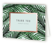 This is a blue wedding thank you card by Elly called Tropical Love with foil-pressed printing on strathmore in standard.