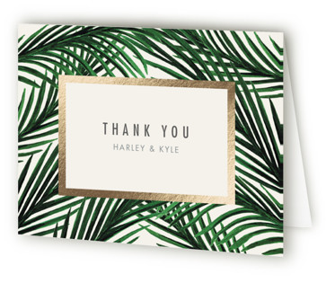 Tropical Love Foil-Pressed Thank You Cards