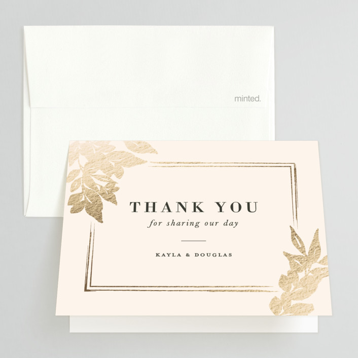 """Subtle"" - Foil-pressed Folded Thank You Card in Ecru by Sarah Brown."