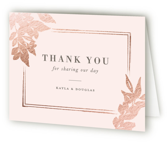 This is a pink Wedding Thank You Cards by Sarah Brown called Subtle with Foil Pressed printing on Standard Cover in minibook fold over (blank inside) format. This elegant wedding invitation features a border in pearl white foil a subtle ...