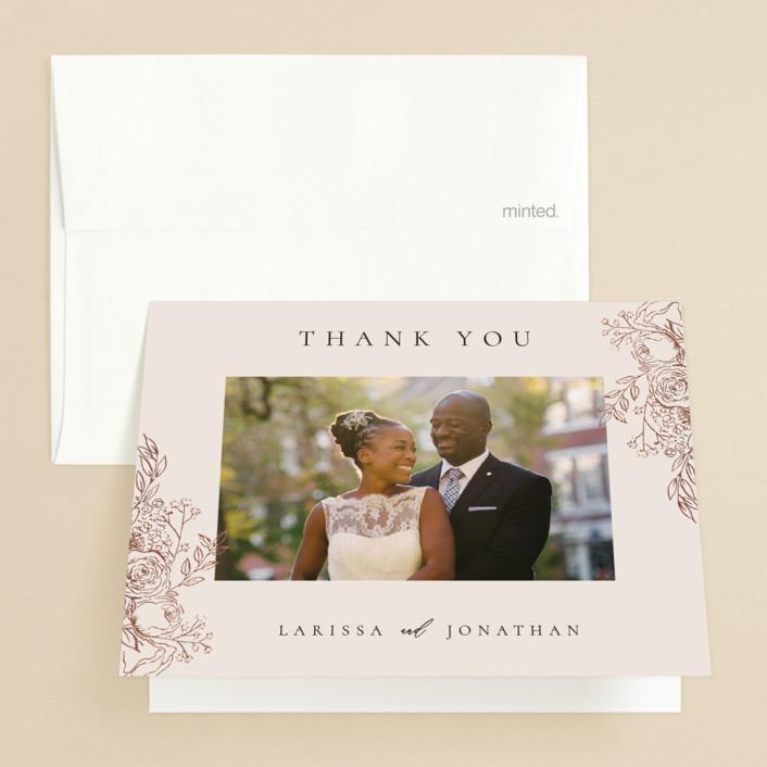 """Floral Frame"" - Foil-pressed Folded Thank You Card in Powder by frau brandt."