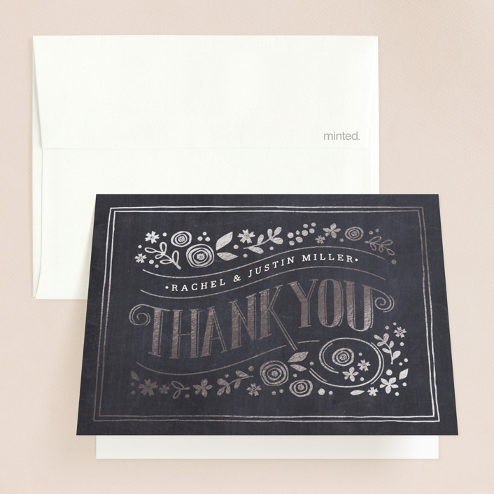 """Alabaster Florals"" - Floral & Botanical, Vintage Foil-pressed Folded Thank You Card in Slate by Jennifer Wick."