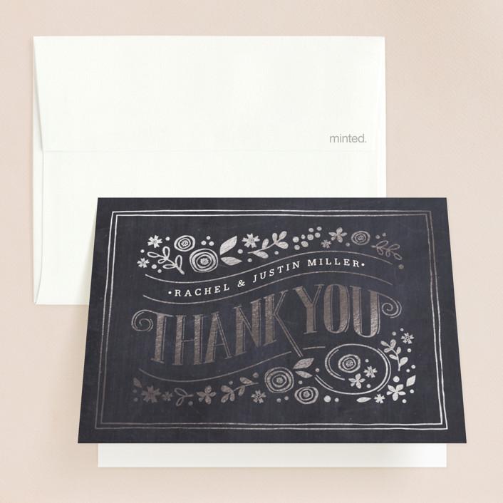 """""""Alabaster Florals"""" - Floral & Botanical, Vintage Foil-pressed Folded Thank You Card in Slate by Jennifer Wick."""