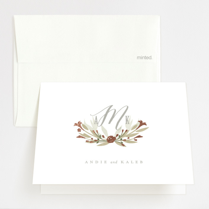 """Monogram Floral"" - Monogrammed, Floral & Botanical Foil-pressed Thank You Cards in Peach by Lori Wemple."