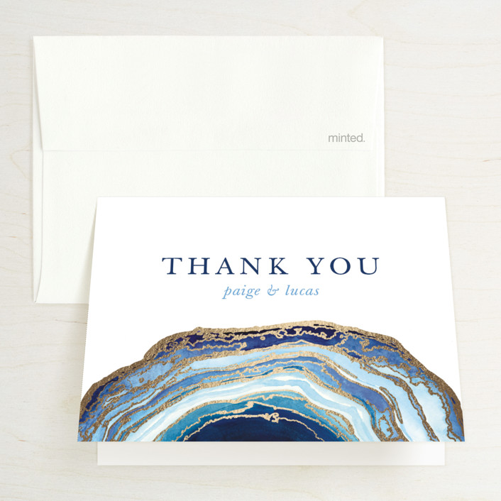 """Gilt Agate"" - Bohemian, Rustic Foil-pressed Folded Thank You Card in Navy by Kaydi Bishop."