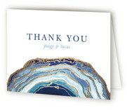 This is a blue wedding thank you card by Kaydi Bishop called Gilt Agate with foil-pressed printing on strathmore in standard.