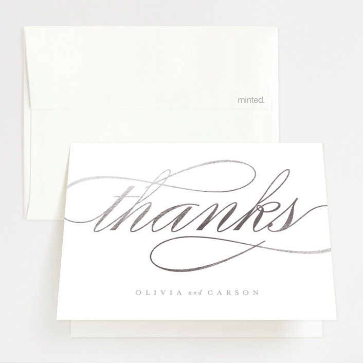 """Mist"" - Foil-pressed Thank You Cards in Silver by Lori Wemple."