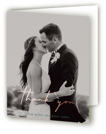 This is a portrait classic and formal, simple and minimalist, green Wedding Thank You Cards by Sara Hicks Malone called Postmark with Foil Pressed printing on Standard Cover in minibook fold over (blank inside) format. Modern design, with a destination ...