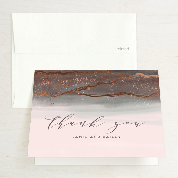 """""""Natural Elegance"""" - Foil-pressed Thank You Cards in Morganite by iamtanya."""