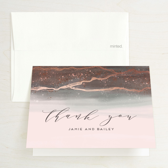 """Natural Elegance"" - Foil-pressed Thank You Cards in Morganite by iamtanya."
