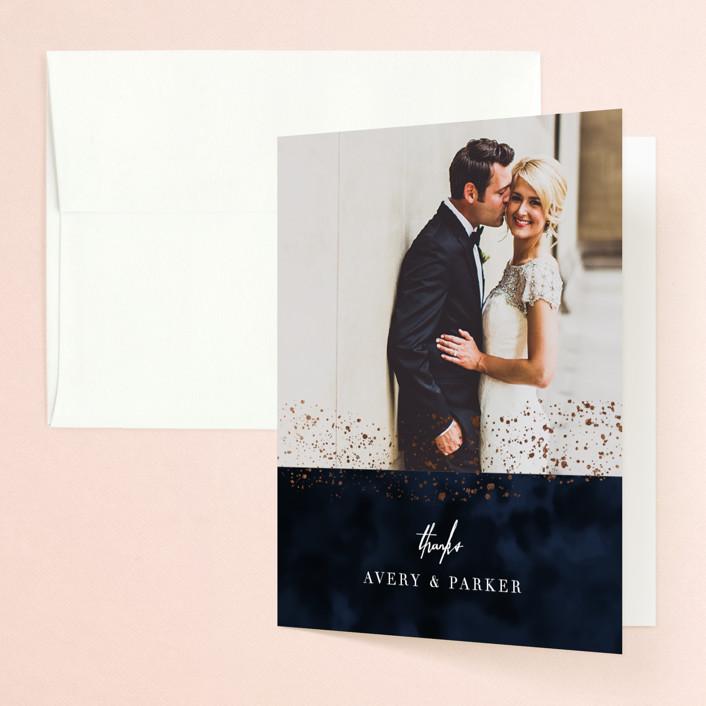 """glistening stardust"" - Foil-pressed Folded Thank You Card in Midnight by Angela Marzuki."
