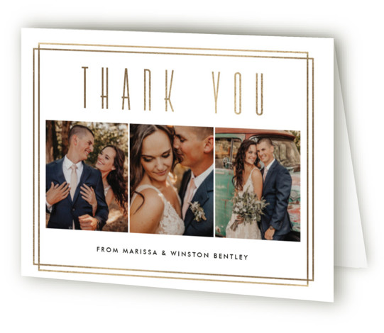 This is a landscape bold and typographic, classic and formal, white Wedding Thank You Cards by Oma N. Ramkhelawan called Winston with Foil Pressed printing on Standard Cover in minibook fold over (blank inside) format. A simple and classic design ...
