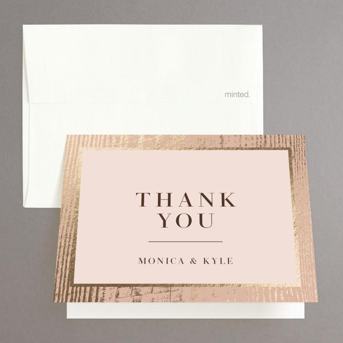"""barn door"" - Rustic Foil-pressed Folded Thank You Card in Blush by Robin Ott."