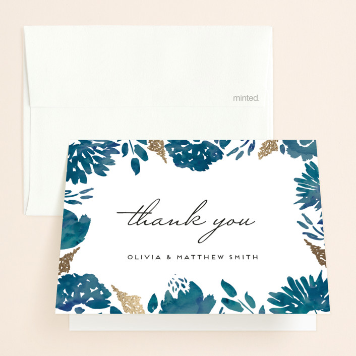 """""""Watercolor Delight"""" - Floral & Botanical Foil-pressed Folded Thank You Card in Indigo by Petra Kern."""