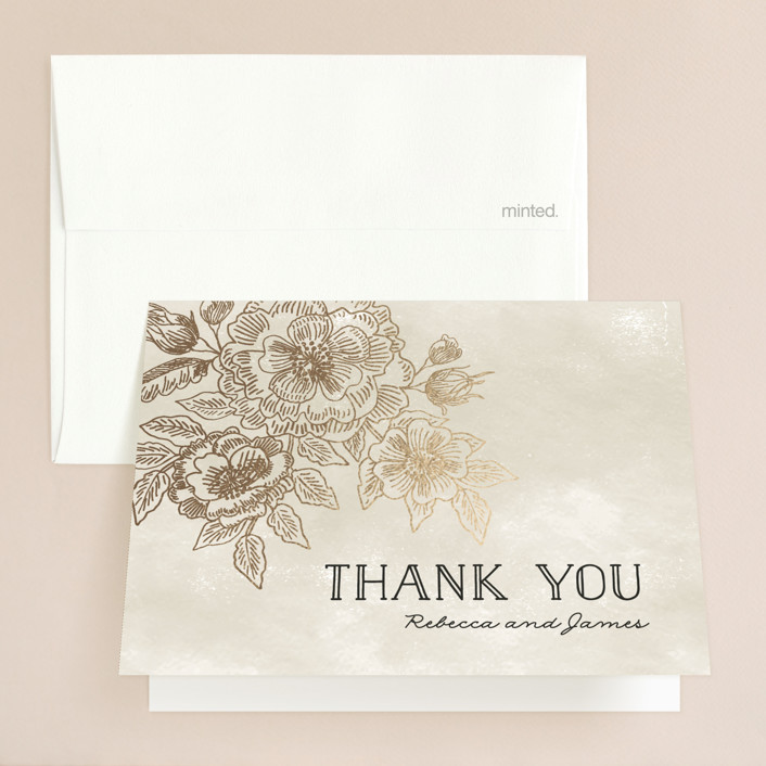 """Wedding Etching"" - Foil-pressed Thank You Cards in Tea by Chris Griffith."