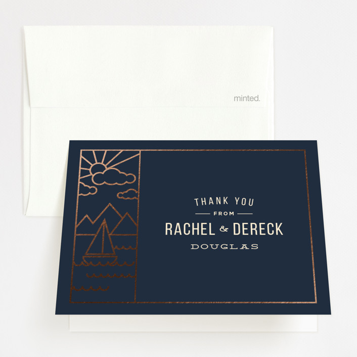 """""""Nautical By Nature"""" - Modern Foil-pressed Folded Thank You Card in Navy by Dana Beckwith."""