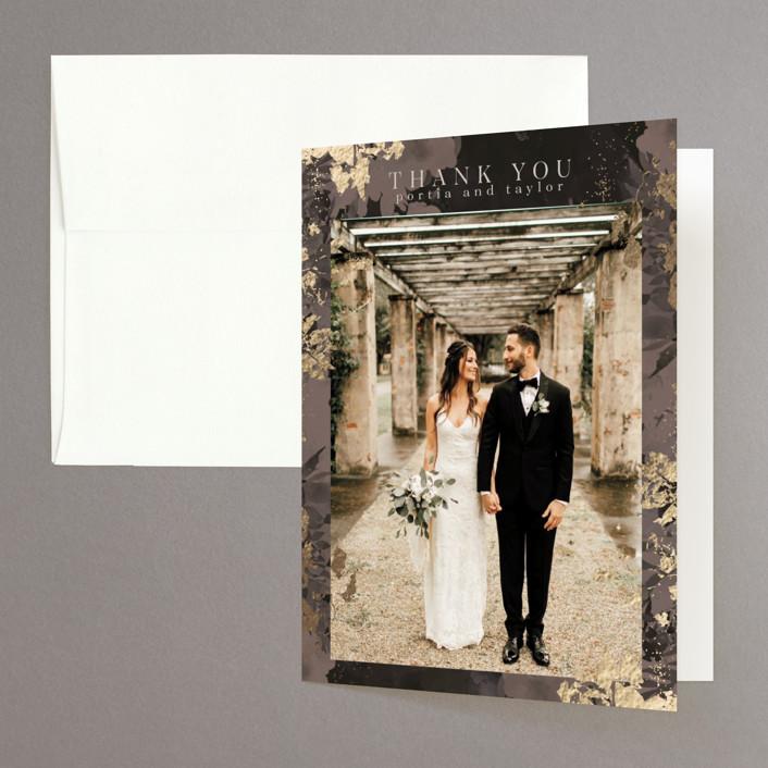 """Tuxedo Blooms"" - Foil-pressed Folded Thank You Card in Mushroom by Grace Kreinbrink."