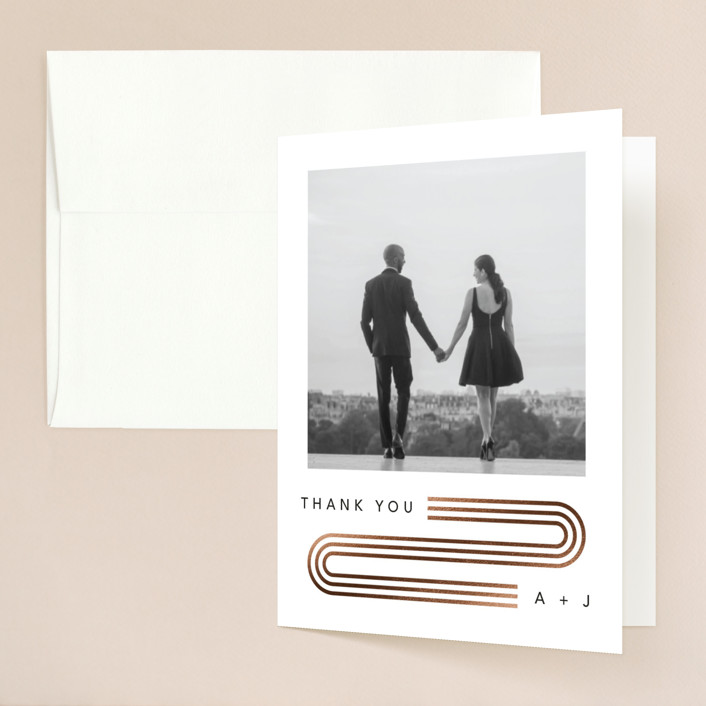 """Connected"" - Modern Foil-pressed Folded Thank You Card in Tuxedo by Kelsey Mucci."