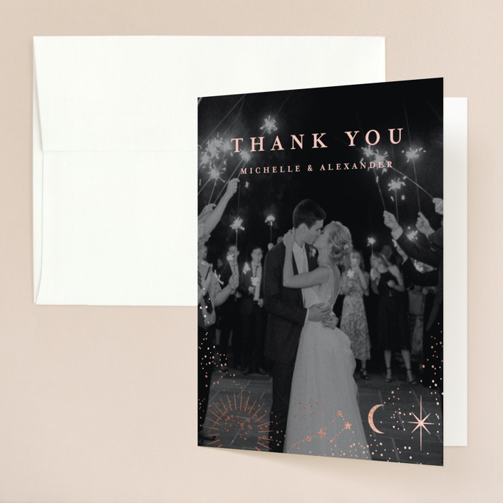 """""""look at the stars"""" - Bohemian Foil-pressed Folded Thank You Card in Midnight by Anastasia Makarova."""