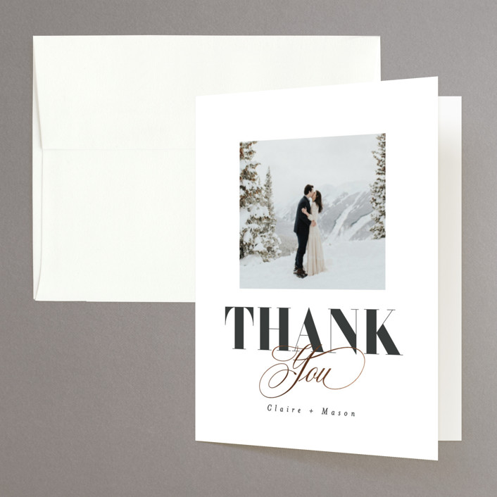 """Gallerian"" - Foil-pressed Folded Thank You Card in Cloud by Itsy Belle Studio."