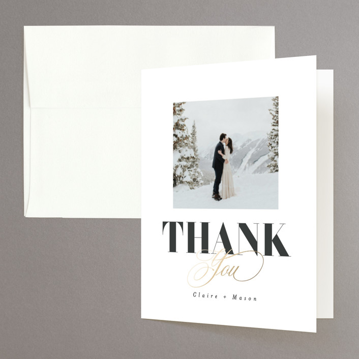 """""""Gallerian"""" - Foil-pressed Folded Thank You Card in Cloud by Itsy Belle Studio."""