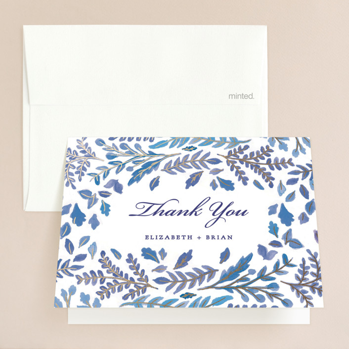 """""""China Plate"""" - Foil-pressed Thank You Cards in Royal Blue by Ariel Rutland."""