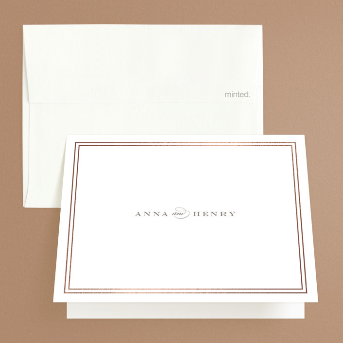 """Field"" - Simple, Elegant Foil-pressed Thank You Cards in White by Toast & Laurel."
