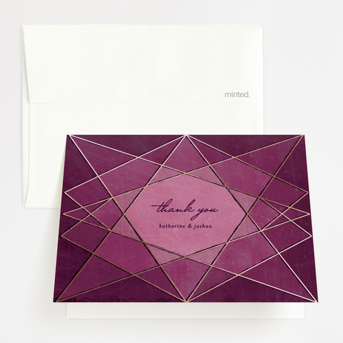 """""""Abstract Jewel"""" - Foil-pressed Thank You Cards in Amethyst by Rebecca Bowen."""