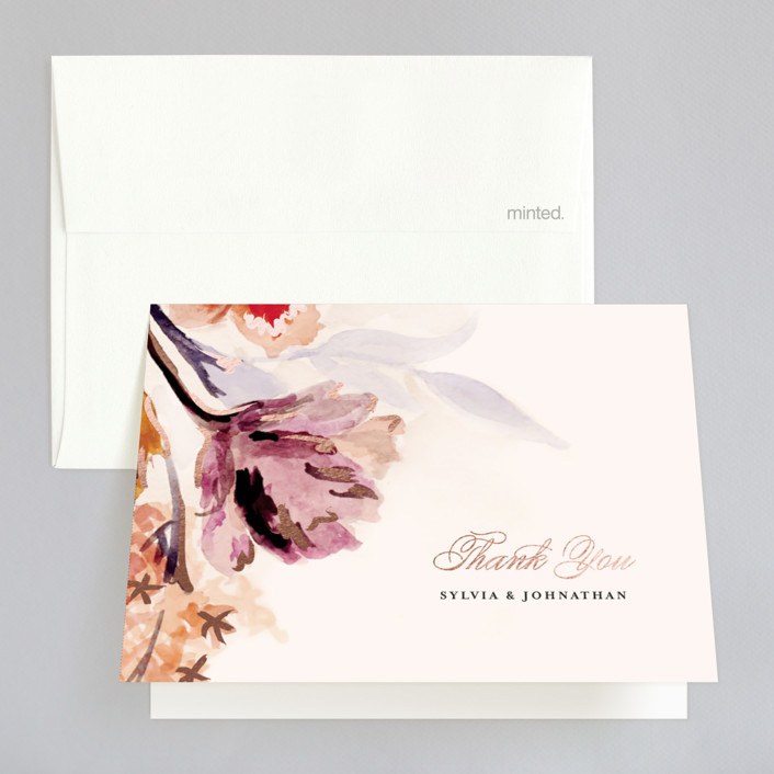 """""""Grecian Floral"""" - Foil-pressed Thank You Cards in Rose Gold by Olivia Kanaley."""