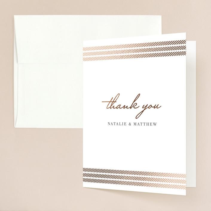 """elegant herringbone"" - Foil-pressed Folded Thank You Card in Gravel by Paper Dahlia."