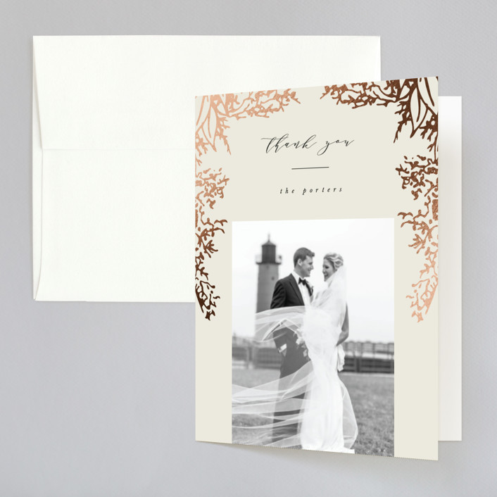 """""""Olivia"""" - Foil-pressed Folded Thank You Card in Taupe by Hannah Williams."""