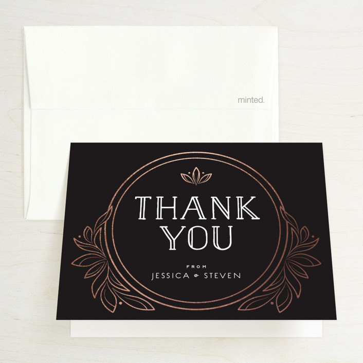 """Halcyon"" - Foil-pressed Thank You Cards in Rose Gold by GeekInk Design."