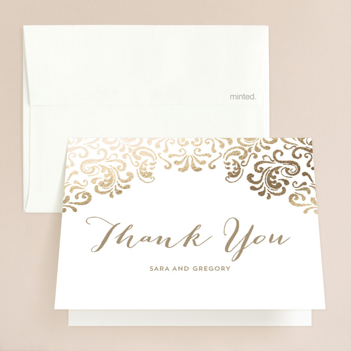 """""""Black Tie Wedding"""" - Vintage Foil-pressed Thank You Cards in Gold by Chris Griffith."""