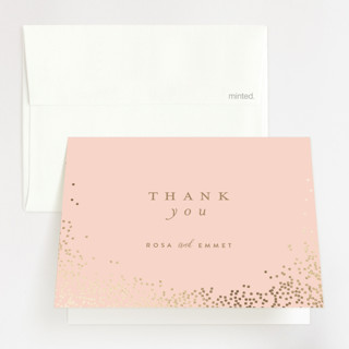 """Bubbly"" - Foil-pressed Thank You Cards in Blush by Lori Wemple."