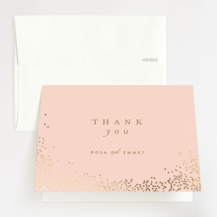 """""""Bubbly"""" - Foil-pressed Thank You Cards in Blush by Lori Wemple."""