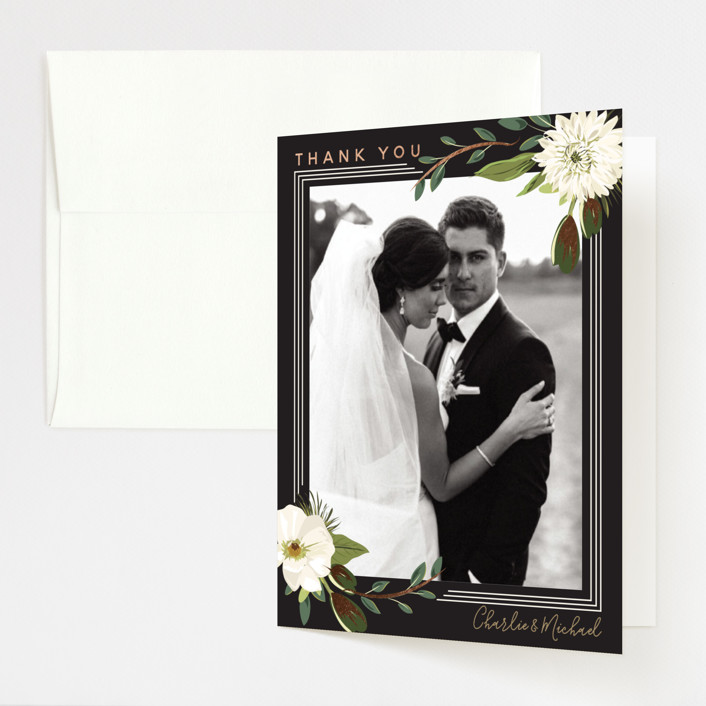 """""""Garden Blooms"""" - Foil-pressed Folded Thank You Card in Ivory by Susan Moyal."""