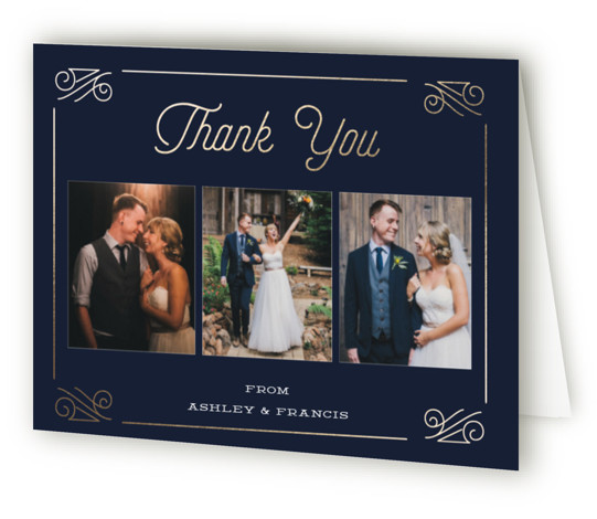 This is a vintage, blue, gold Wedding Thank You Cards by Oma N. Ramkhelawan called Simply Timeless with Foil Pressed printing on Standard Cover in minibook fold over (blank inside) format. This design personifies a sophisticated and timeless look. It ...