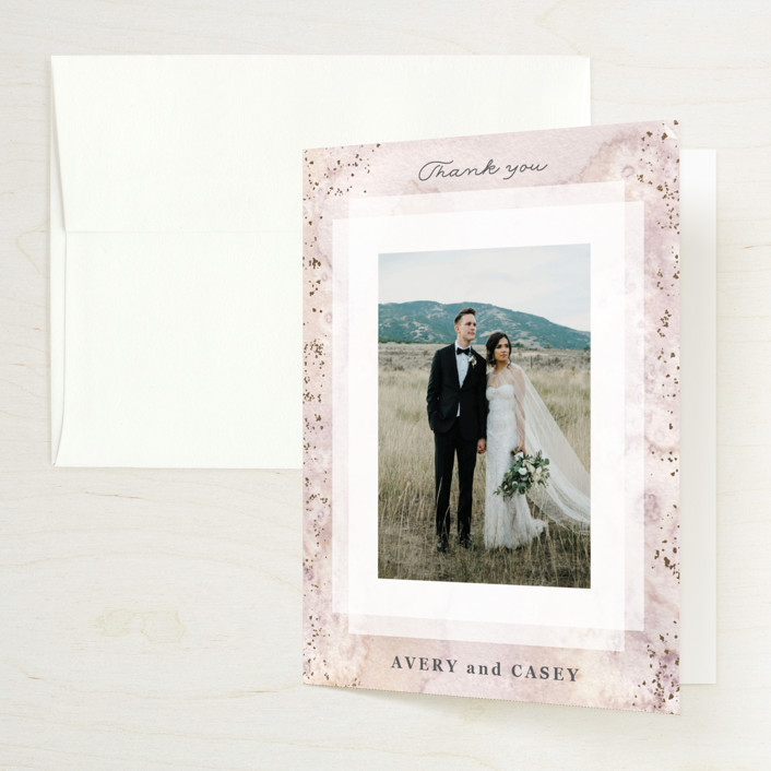 """""""Champagne"""" - Foil-pressed Folded Thank You Card in Flutter by Creo Study."""