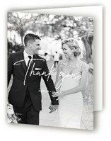 This is a pink wedding thank you card by Robin Ott called empyrean with foil-pressed printing on strathmore in standard.