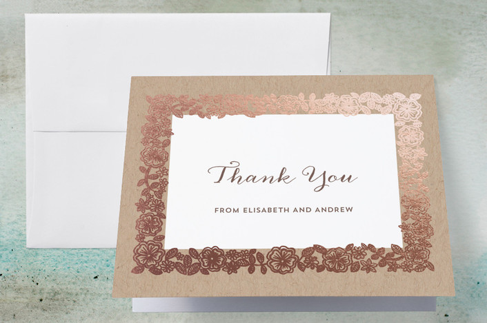 """""""Elisabeth Floral"""" - Foil-pressed Thank You Cards in Kraft by Katharine Watson."""